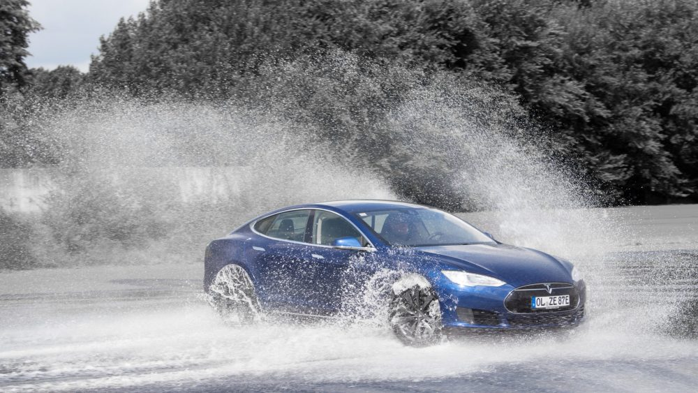 Tesla Model S drifting in water