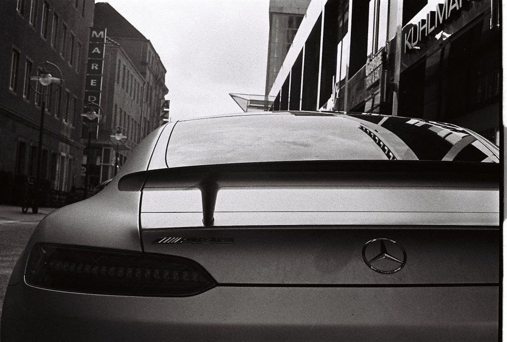 Mercedes SLS in an analog photo