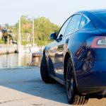 Model S in port Neustadt in Holstein Water in Background